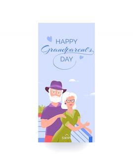Modello di storia di social media colorato di felice giorno dei nonni con nonno e nonna sorridenti
