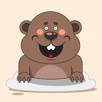 Illustrazione felice di giorno della marmotta adatta a cartolina d'auguri