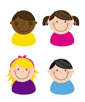 Illustrazione vettoriale di squadra felice gruppo bambini