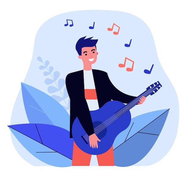 Ragazzo felice che gioca illustrazione della chitarra