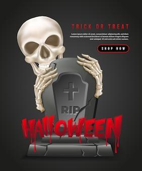 Felice halloween 3d realistico scheletro teschio mano e lapide