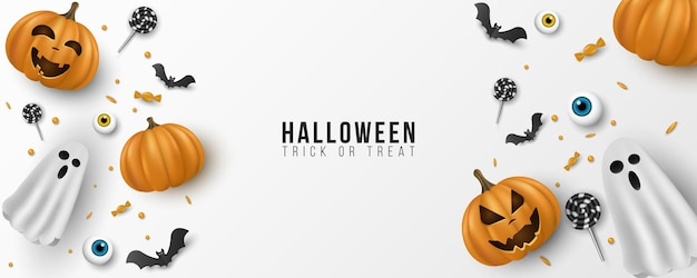 Disegno di sfondo felice di halloween. 3d emozionale, cartone animato, zucche sorridenti con occhi, dolci, lecca-lecca, pipistrelli volanti, fantasma su sfondo bianco. modello di invito alla festa