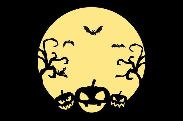 Felice sfondo di halloween con pipistrelli e zucche e albero e gatto