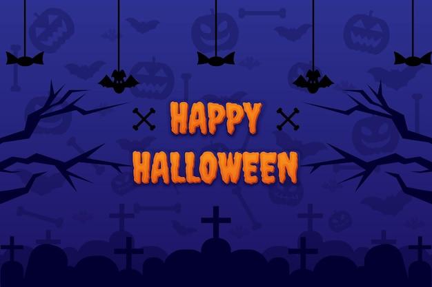 Felice sfondo di halloween con ornamento di osso di pipistrello di zucca e disegno vettoriale di lapide lapide tombale