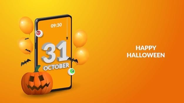 Felice sfondo di halloween con zucca, occhio, smartphone e palloncino