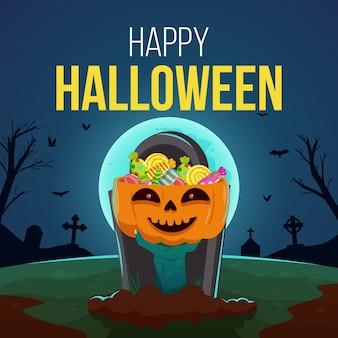 Sfondo di halloween felice con la mano di zombie che tiene la zucca piena di caramelle