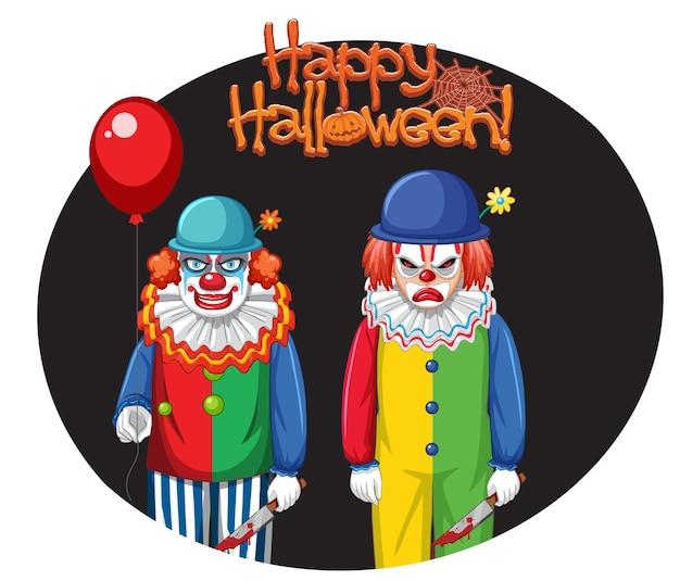 Distintivo di happy halloween con due pagliacci raccapriccianti