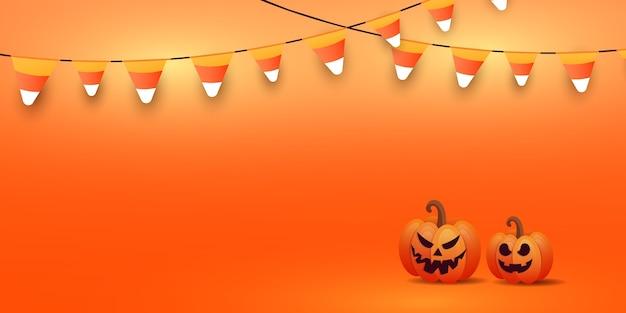 Felice halloween banner o invito a una festa sfondo con eleganti facce di zucca, ghirlande di caramelle incandescente su sfondo arancione sfumato.