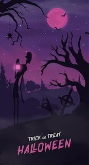 Felice striscione di halloween o sfondo di invito a una festa con nuvole di nebbia viola e zucche