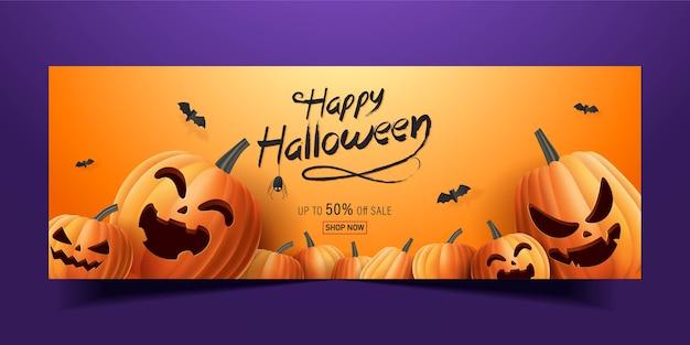 Felice banner di halloween, banner di promozione di vendita con pipistrelli e zucche di halloween. illustrazione 3d