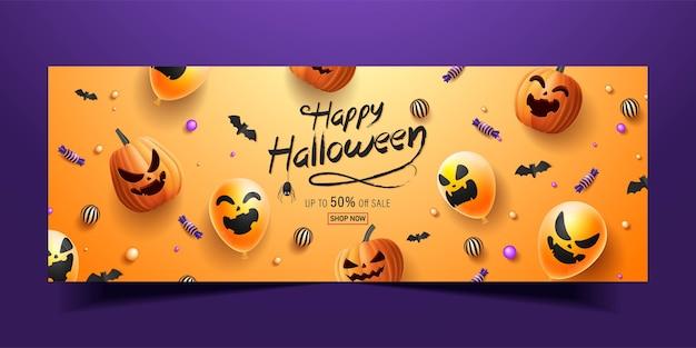 Felice banner di halloween, banner di promozione di vendita con caramelle di halloween, ghirlande luminose, palloncini e zucche di halloween. illustrazione 3d