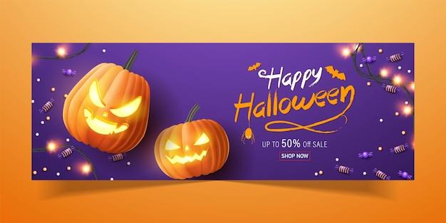 Felice banner di halloween, banner di promozione di vendita con caramelle di halloween, ghirlande luminose e zucche di halloween. illustrazione 3d