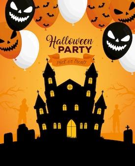 Banner di halloween felice con elio di palloncini infestati e spaventosi del castello