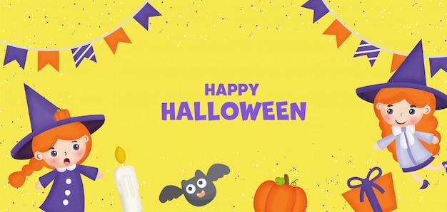 Bandiera di halloween felice con strega carina ed elemento.