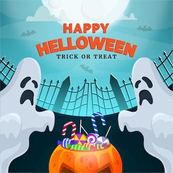Felice banner di halloween. con fantasma, luna, nuvola notturna e zucca piena di caramelle di halloween.