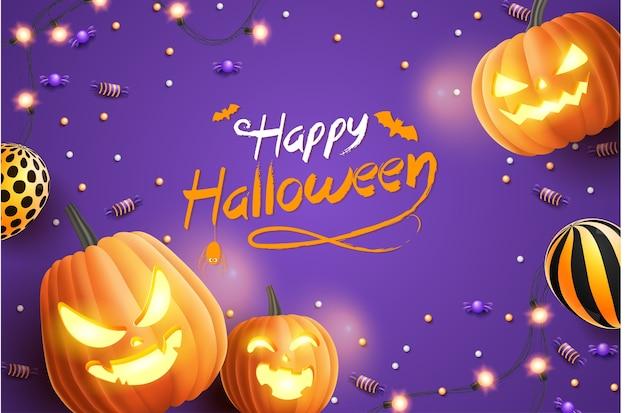 Felice banner di halloween, con caramelle di halloween, ghirlande luminose, palloncini e zucche di halloween su sfondo viola. illustrazione 3d