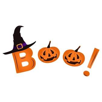 Banner di halloween felice con una zucca. testo boo, stilizzato come zucche carine. design di halloween per un poster, un invito a una festa o una vendita