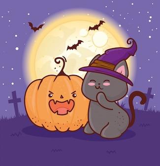 Felice halloween, pipistrello con il simpatico gatto usando la strega del cappello nel disegno dell'illustrazione di vettore del cimitero