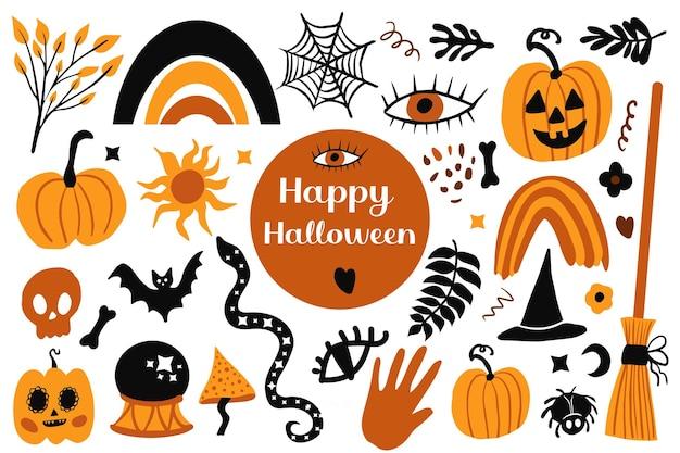 Insieme felice dell'estratto di halloween boho. stile di disegno a mano di clip art collezione magia mistica bohémien. elementi di doodle estetico contemporaneo creativo. illustrazione vettoriale