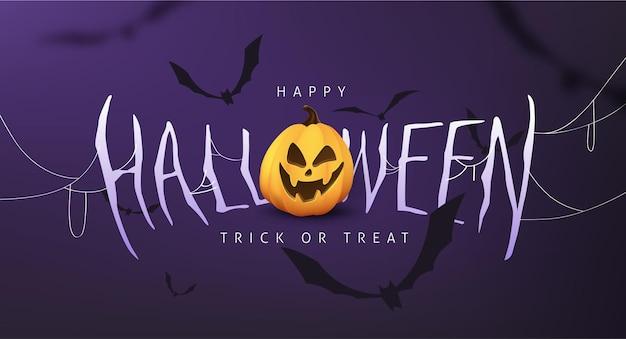 Invito a una festa con striscioni calligrafici di halloween con zucca e pipistrello che volano