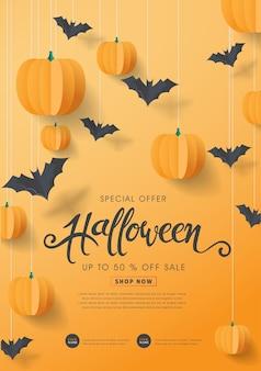 Felice calligrafia di halloween con pipistrelli di carta e zucche. vendita offerta speciale banner.