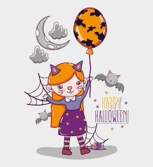 Cartoni animati di halloween carta felice