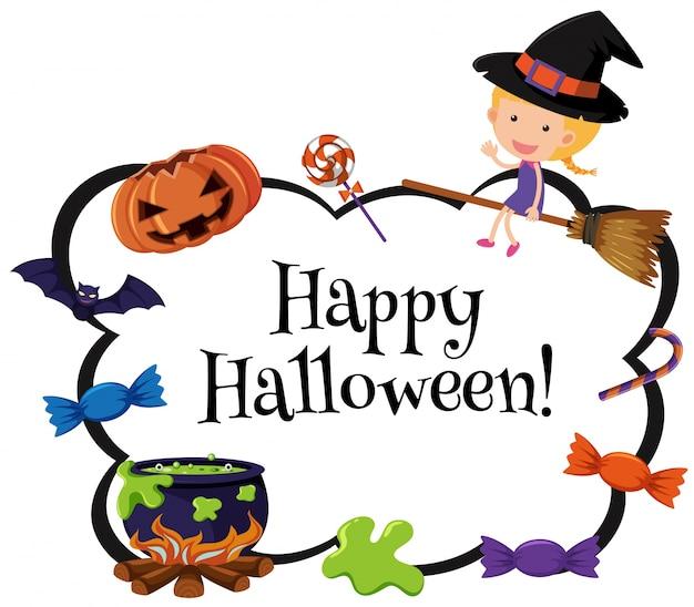 Modello di carta halloween felice con strega e caramelle