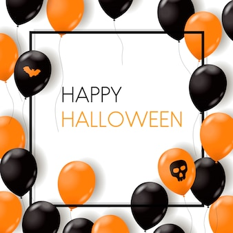 Felice carta di halloween con palloni ad aria, palella e pipistrello.