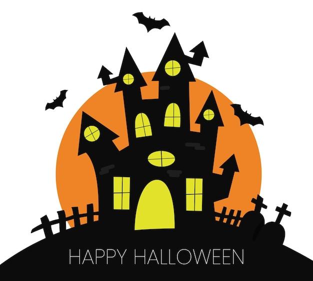 Happy halloween card con casa nera un albero e luna arancione