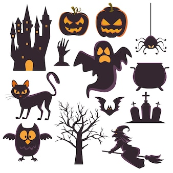 Happy halloween card con set di icone di bundle