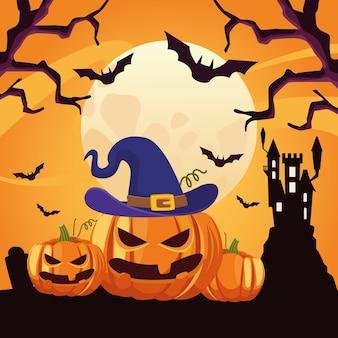 Scheda felice di halloween con la scena del castello e delle zucche