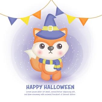 Carta di halloween felice con volpe carina in stile colore dell'acqua.