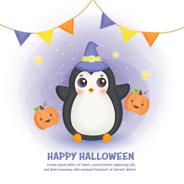 Carta di halloween felice con simpatico pinguino in stile colore dell'acqua.