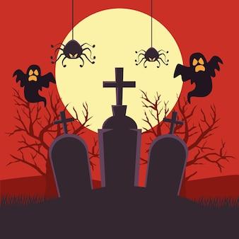 Scheda felice di halloween con fantasmi e ragni nella progettazione dell'illustrazione di vettore di scena di notte del cimitero