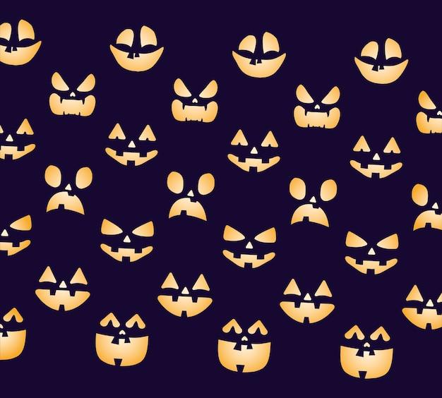 Happy halloween card con zucche facce pattern illustrazione vettoriale design