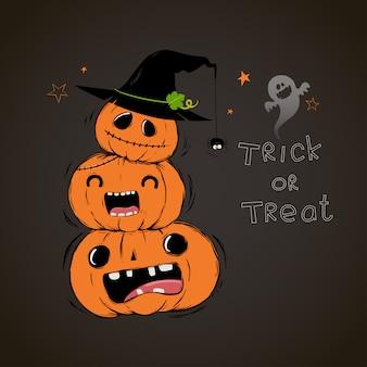 Scheda felice di halloween con tre simpatici cartoni animati di zucche.