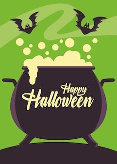 Scheda felice di halloween con calderone della strega e pipistrelli
