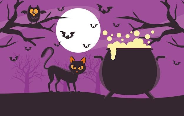 Scheda felice di halloween con il calderone della strega e il gatto