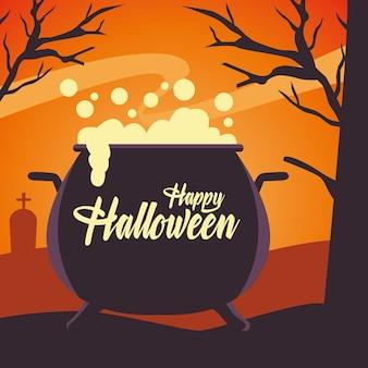 Scheda felice di halloween con il calderone della strega nel cimitero