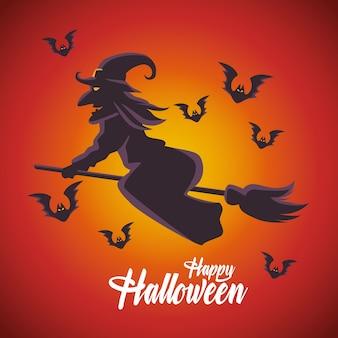 Scheda felice di halloween con la strega che vola in scopa e pipistrelli