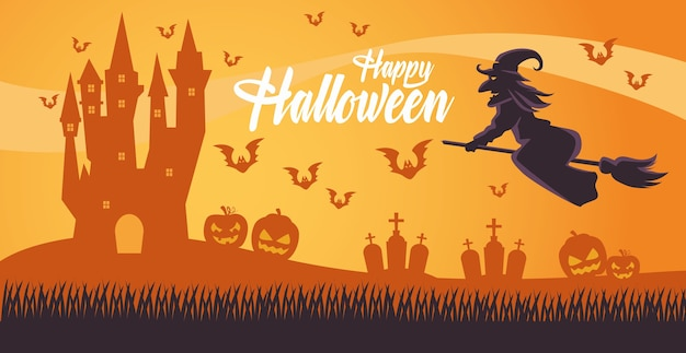 Scheda felice di halloween con la strega che vola nella progettazione dell'illustrazione di vettore del cimitero e della scopa