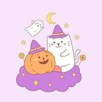 Gatto e zucca svegli del fumetto felice di halloween.
