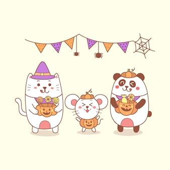 Ratto e panda sveglio del gatto del fumetto di halloween felice che tiene una zucca.