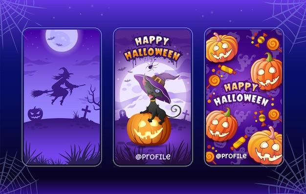 Felice halloween. modelli di illustrazioni di cartoni animati per storie. collezione. strega volante, gatto, zucca
