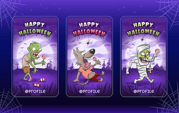 Felice halloween. modelli di illustrazioni di cartoni animati per storie. collezione. zombie, lupo mannaro, mummia