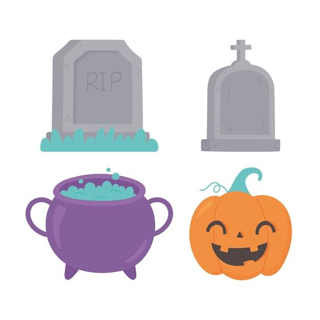 Illustrazione felice delle icone delle pietre tombali del calderone della zucca del fumetto di halloween