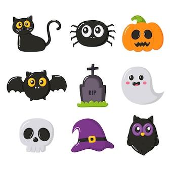 Insieme di elementi semplici del fumetto di felice halloween isolato su sfondo bianco