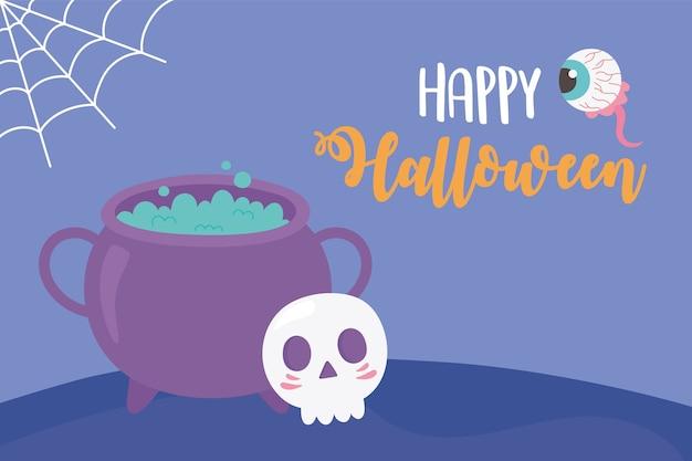 Illustrazione felice della carta dell'occhio e della ragnatela del cranio del calderone di halloween felice