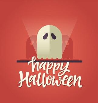 Happy halloween - biglietto celebrativo con testo in calligrafia e un fantasma con ombre spaventose. scritta a penna pennello disegnata a mano. testo bianco su sfondo rosso. perfetto come poster, banner, invito, flyer