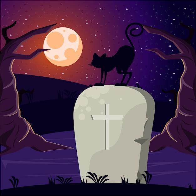 Scheda di celebrazione di halloween felice con tomba e gatto.
